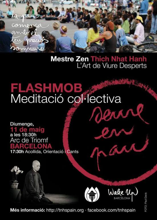 Meditation flash mob in Barcelona